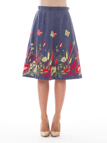 1970s Gucci-Inspired Denim A-Line Floral Embroidered Skirt
