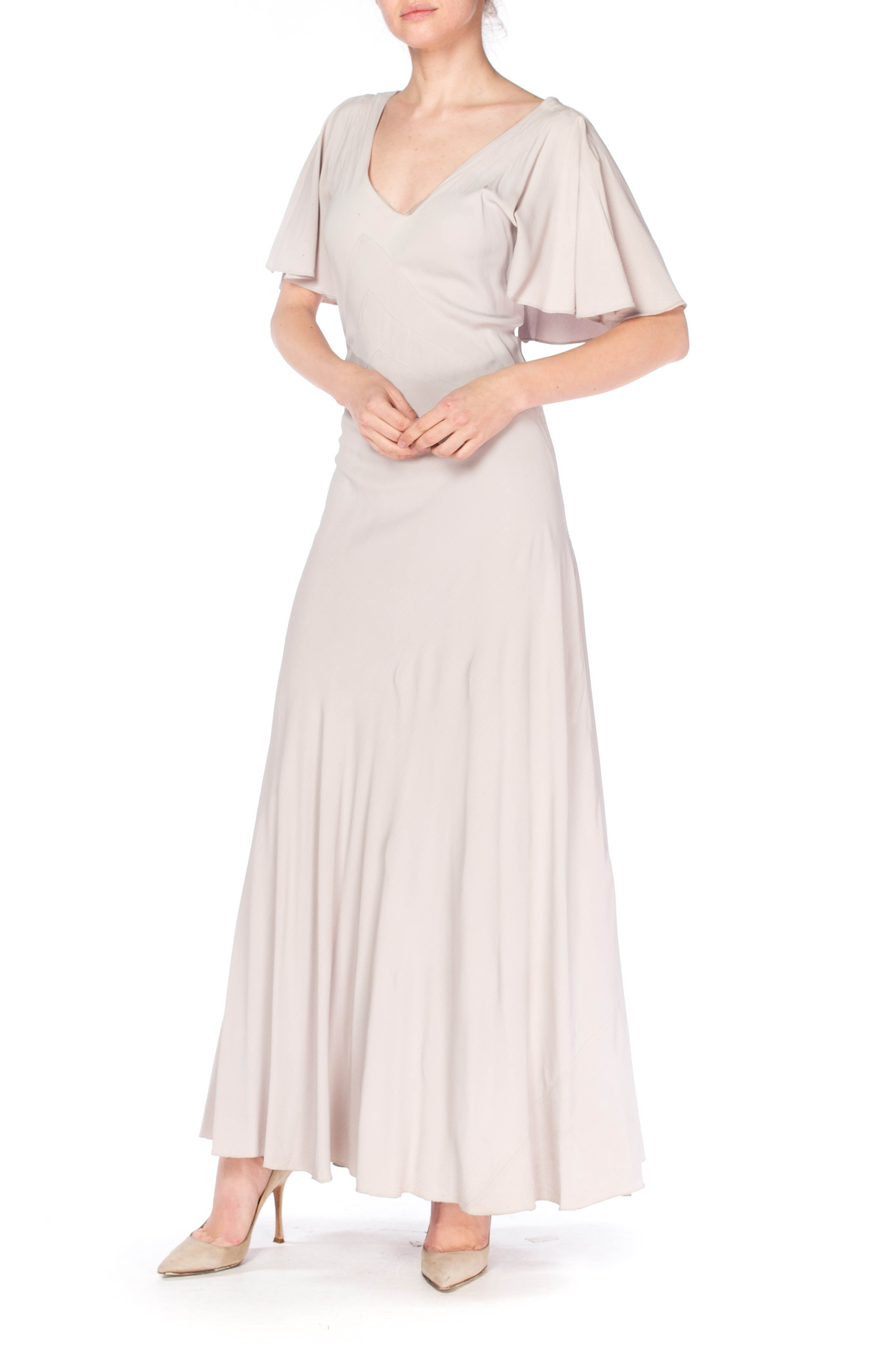 1930S Grey Rayon Crinkle Crepe Asymmetrical Flutter Sleeve Bias-Cut Gown