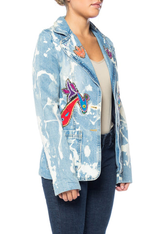 MORPHEW COLLECTION Cotton Denim Bleach Splattered  Blazer Jacket With Bird Appliques