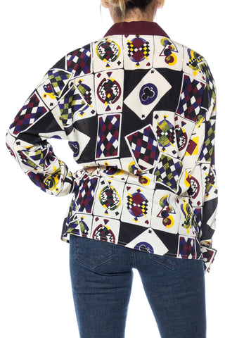 1980S GIANNI VERSACE Printed Silk Playing Card Shirt Sz 42