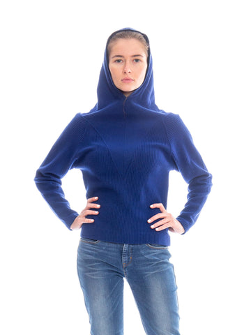 1950s Hooded Ribbed Wool Sweater