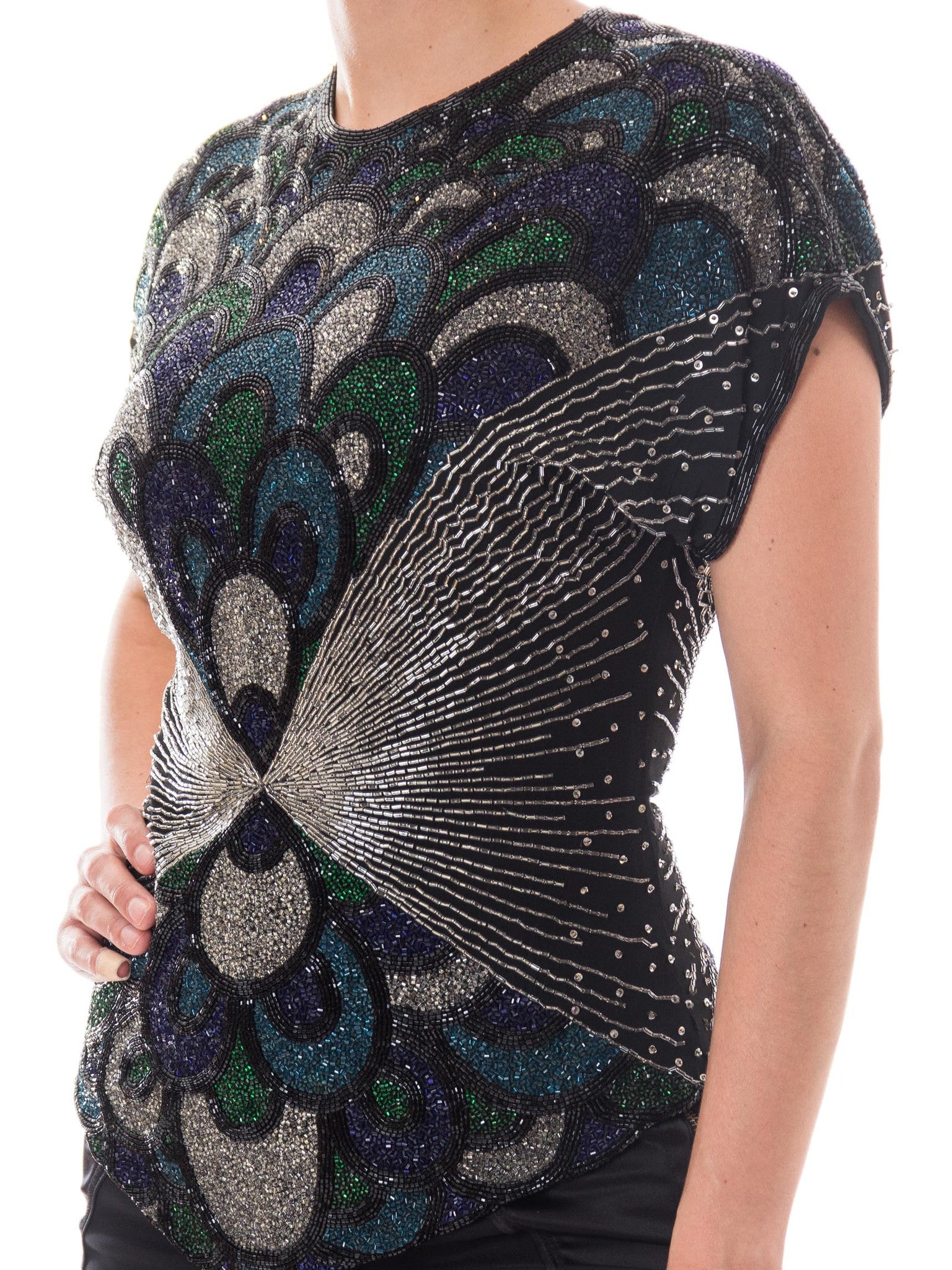 1980S Black Silk Chiffon Art Deco Peacock Entirely Beaded Top