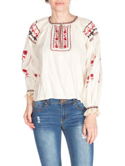 1920s Hand Embroidred and Cross Stitched Boho Top