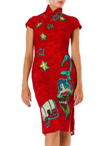 1960s Mandarin Floral embroidered red Dress with Embroidered Appliques