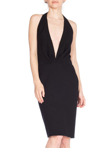 1980s Donna Karan Little Black Deep V Dress