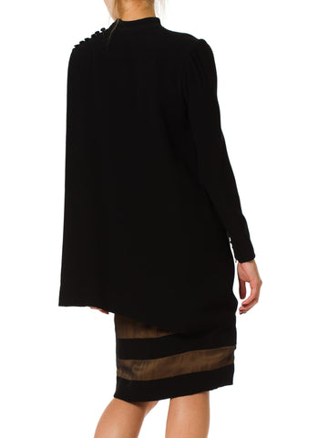1980S JAMES GALANOS Black Silk Crepe & Chiffon Couture Finished Long Sleeve Cocktail Dress