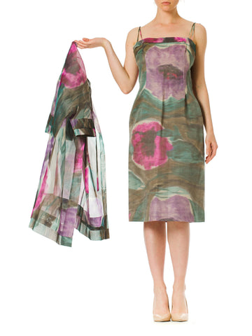 1960S Mod Watercolor Abstract Print Strappy With Jacket Dress