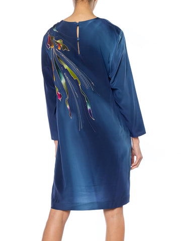 1980S Blue  & Pink Silk Crepe De Chine Hand Painted Tunic Dress