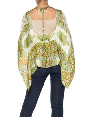 Boho Printed Silk and Lace Top