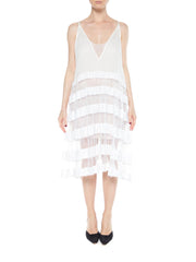 White Cotton Spaghetti Strap Dress with Net Skirt