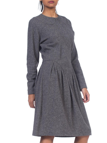 1980S GEOFFREY BEENE Grey Wool Knit Long Sleeve Sweater Dress With Partial Silk Lining