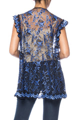 1970s Blue and Black Lace Ruffled Bolero Top