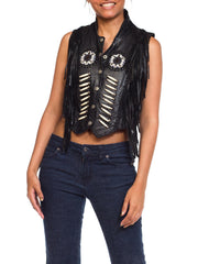 1980s Native American Style Leather Finge Biker Vest