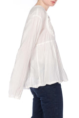 1980s White Cotton Tunic Top
