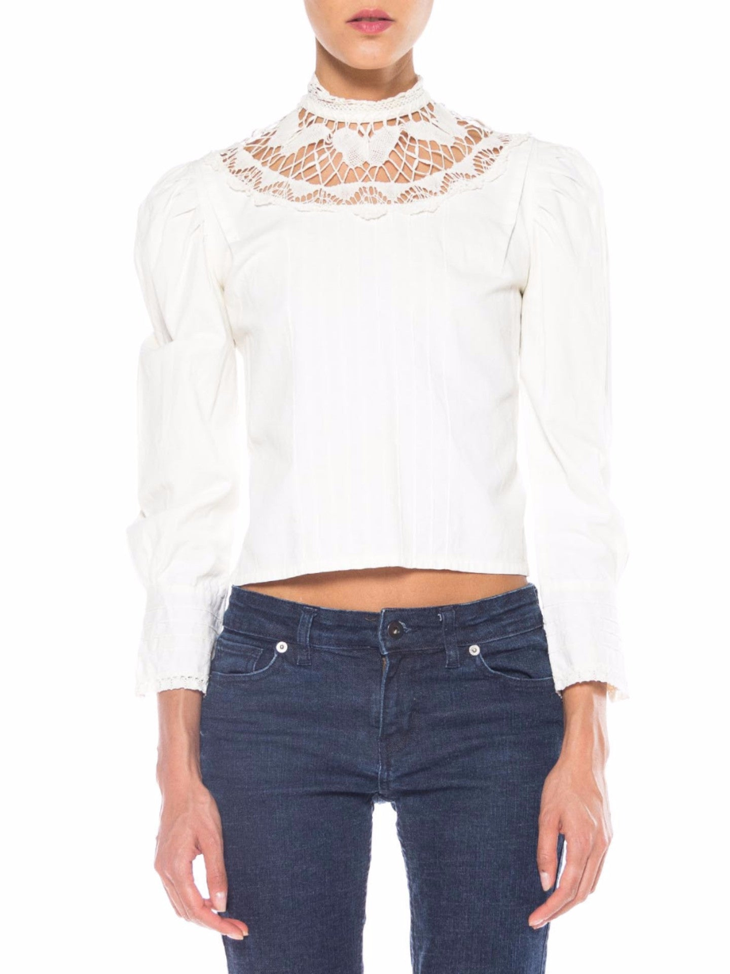 White Victorian Style Top with Butterfly Lace