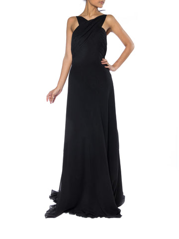 Backless Bias Cut Chiffon Gown with Train