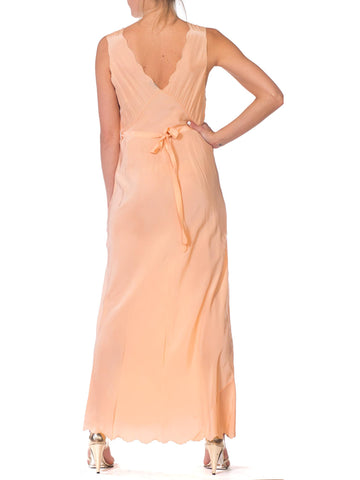 1940S Blush Pink Bias Cut Rayon Crepe De Chine Couture Hand Sewn Slip Dress