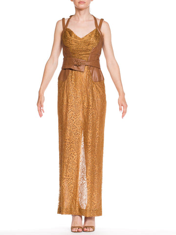 1990s Nude Leather & Lace Gianni Versace Bondege Strap Gowns