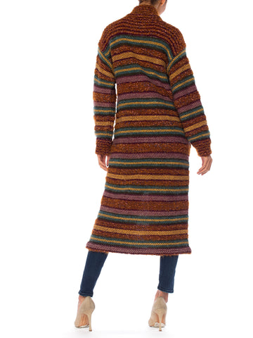 1970S MISSONI Multicolor Striped Wool Blend Knit Maxi Cardigan Sweater From Saks