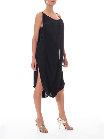 1980S Black Silk Jersey Minimalist Avant-Garde Asymmetrical Draped Cocktail Dress Made In France