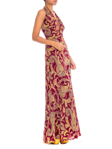 1930S Cranberry Red Paisley Rayon Backless Bias Cut Slip Dress