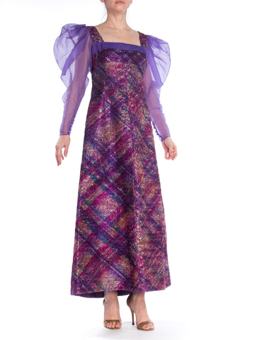 Bishop Sleeve Organza Metallic Oil Slick Multicolored Maxi Dress