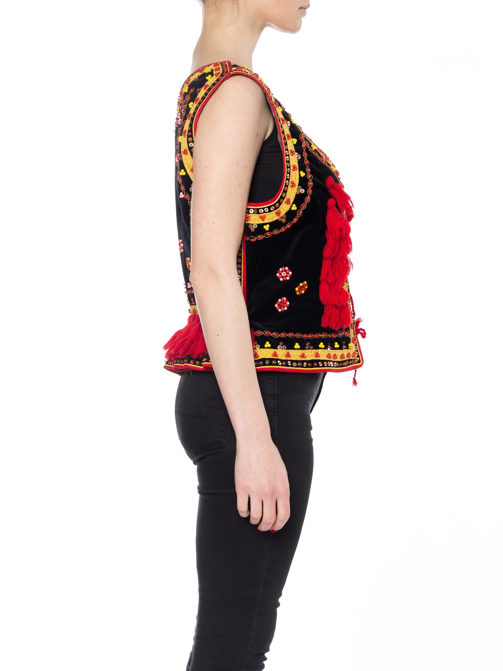 1970S Black Cotton Velvet Eastern European Lace-Up Front Top With Red & Gold Beading Tassels