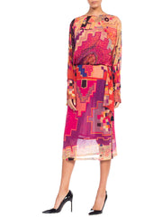 1970s Fiorella Ballet Russe Printed Dress