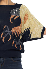 Black Short Sleeve Sweater with Metailic Bird and Rhinestones