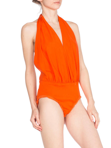 1980s Donna Karan Orange Deep V Bodysuit