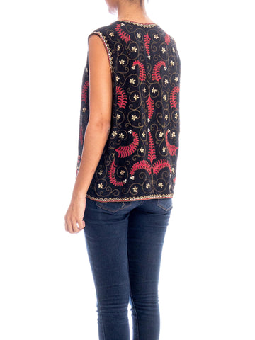 1920s Metal and Silk Embroidered Vest