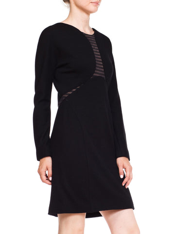 1990S GEOFFREY BEENE Black Wool Jersey Long Sleeve  Dress With Sheer Striped Panels