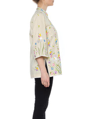 1960s Floral Embroidery Asian-Inspired Top