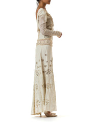 Victorian Embroidered Cutout Net Crochet Linen Maxi Dress