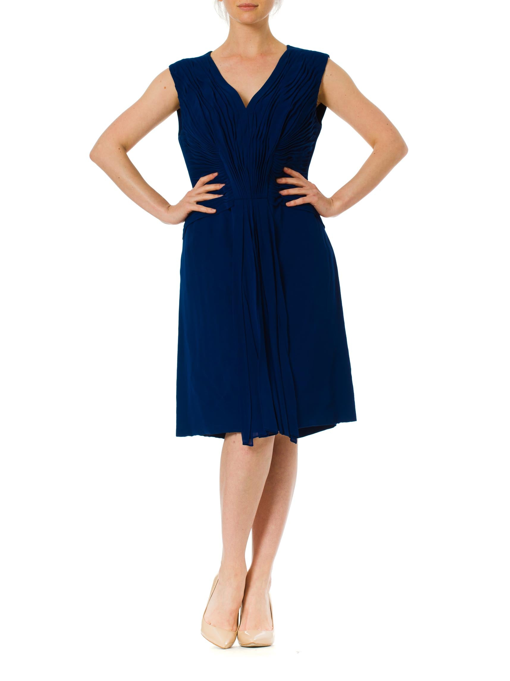 e50178501d7 1960s Style 1980s Structured Royal Blue Hand Pleated Cocktail Dress ...