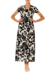 1950s Floral Printed Empire Waist Short Sleeve Maxi Dress