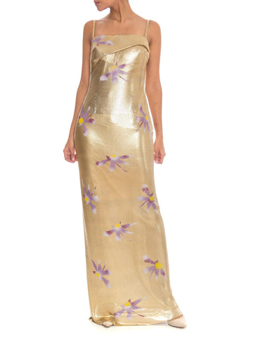 1990s Gianni Versace Couture Gold Metal Mesh Backless Gown