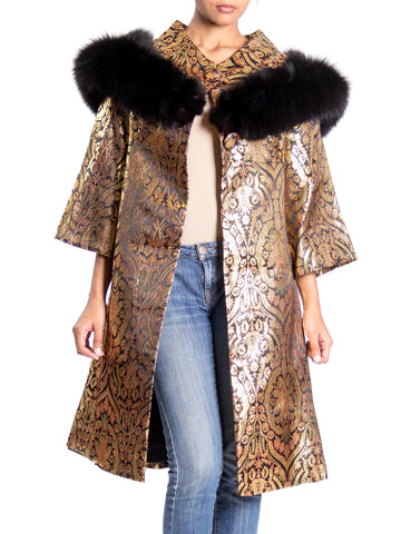 1960 Gold Jacquard A-Line Jacket With Black Fur