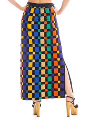 1970s Geometric Printed Wool Maxi Skirt