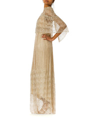 1970's Beaded Lace Champagne Sliver Wedding Gown with Cape