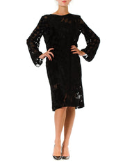 1980s Geometric Burnout Silk velvet Long Sleeve Black Dress