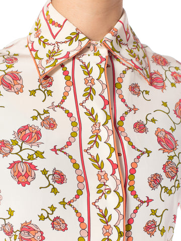 1960S Emilio Pucci Pink  Floral Silk Blouse & Pleated Skirt Ensemble With Couture Finishing