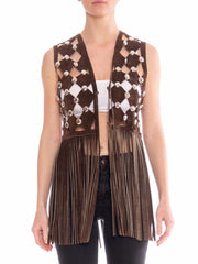 1970s Leather Cut Out Fringe Vest with Silver Hardware