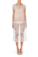 1920s White Net and Lace Dress