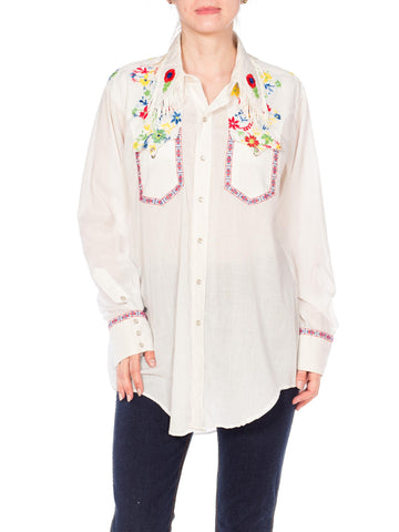 1970s Western Top With Fringe and Floral Embroidery