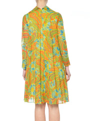 1960s Pleated Psychedelic Floral Dress