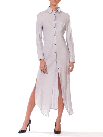 1990s Jill Sander Bias Cut Linen Shirt Dress