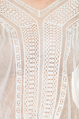 Net and Lace V-Neck Top