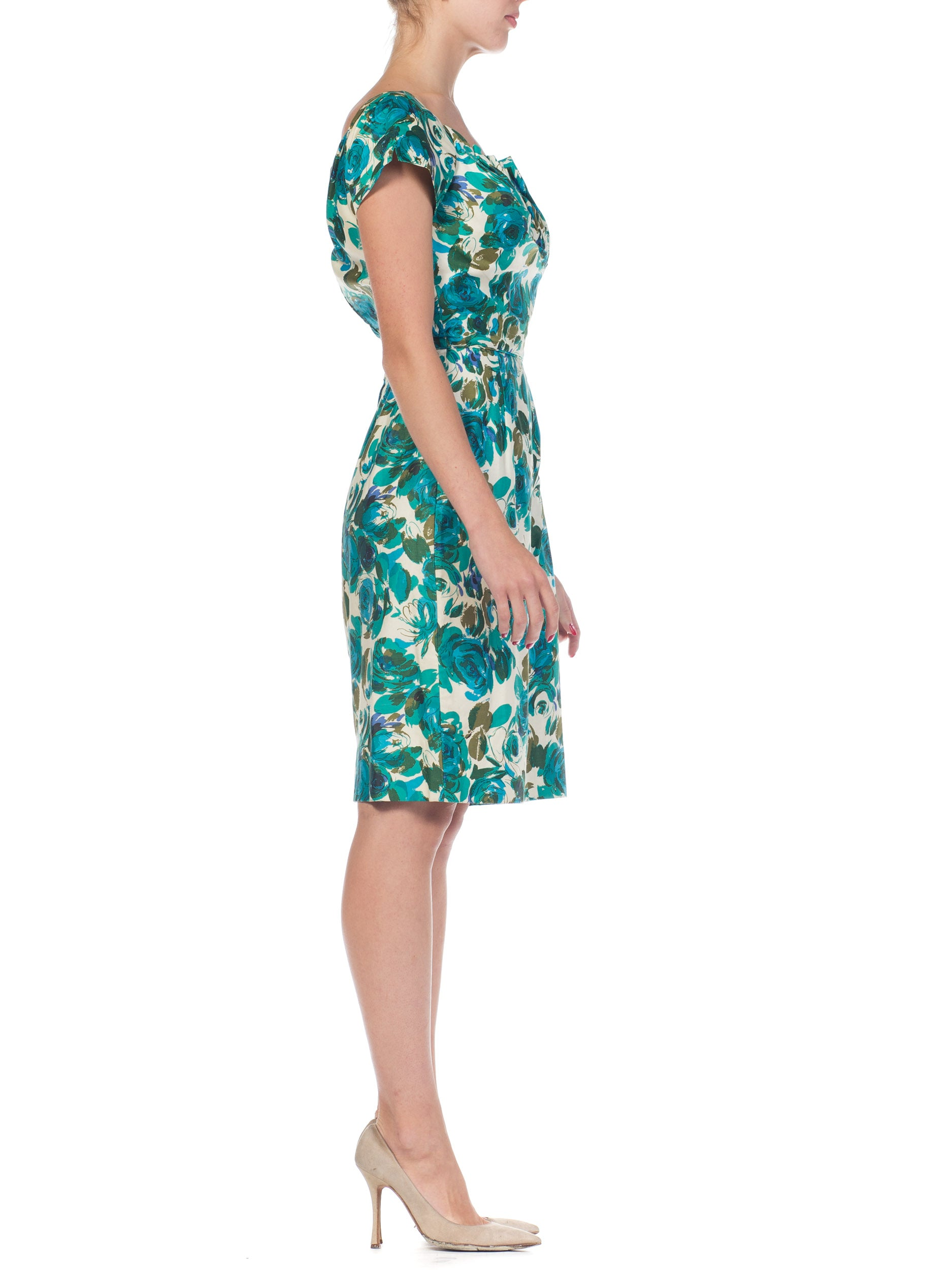 1950S Teal Floral Print Cotton Draped Bodice Dress With Cap Sleeves