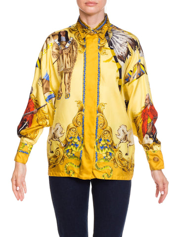 1990s Gianni Versace Buffalo Bill Native American Silk Shirt